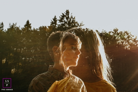 Haute-Savoie, Auvergne-Rhone-Alpes Brother and sister in double exposure lifestyle portrait