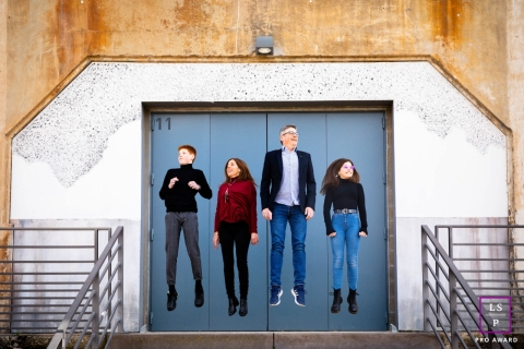 France Family Portrait of them jumping in unison