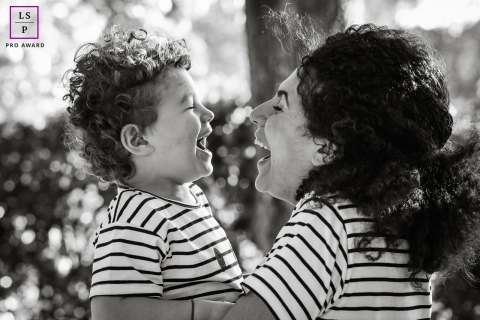 Lyon Mother and son laughing during a lifestyle portrait session