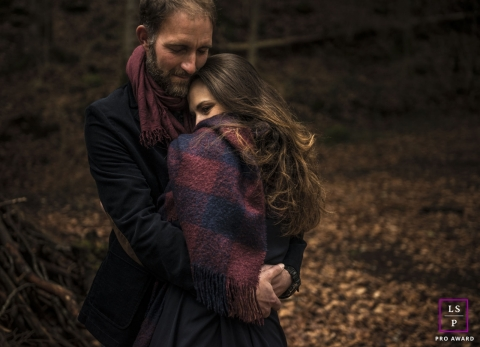 Intimate couple in the forest during a lifestyle photo shoot   Drome, Auvergne-Rhone-Alpes