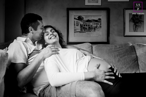At home Brazil lifestyle maternity portraits from Sao Paulo of a couple at home waiting for her first daughter