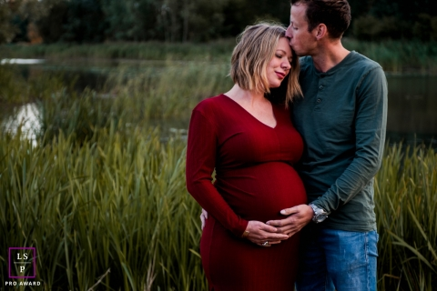 Groningen Netherlands couple maternity portrait with just a minute of tenderness