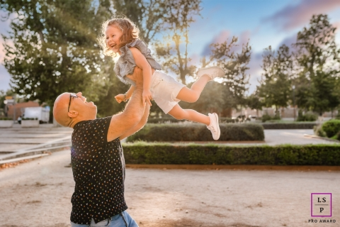 A Madrid father and daughter having fun in the sun in Spain