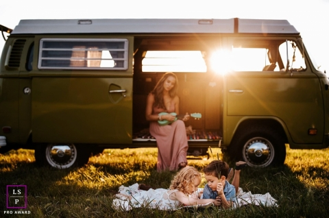 Nashville motherhood photo session with VW mini bus in Tennessee