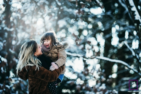 Auvergne-Rhone-Alpes mother and daughter portrait during a wintery France lifestyle shoot