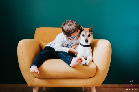 Artistic Alsace Lifestyle Photography with a dog, the little boy's best friend