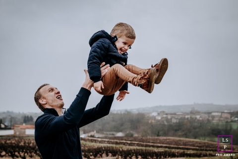 France Lifestyle Photographer created this artistic portrait of Flying with dad