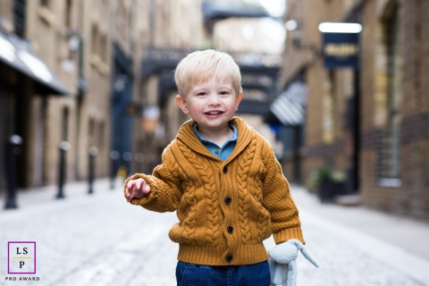 Artistic London Lifestyle Photography of a Little boy with toy rabbit in his hand