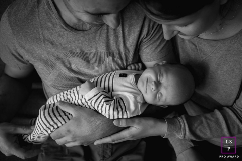 Artistic Lyon Lifestyle Photography with a Smiling Baby in BW