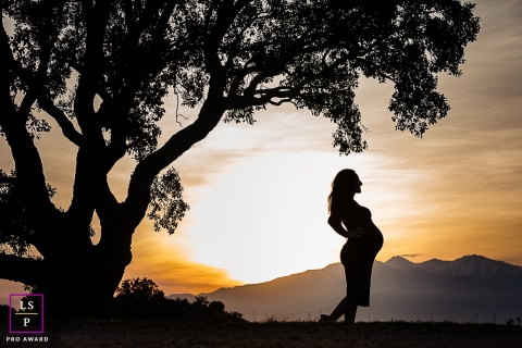 Perpignan woman posing for a Lifestyle Maternity Portrait with a silhouette and African light