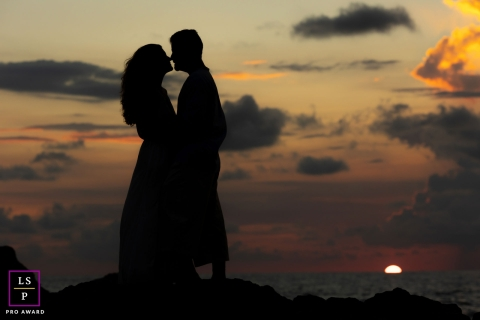 This is a sunset lifestyle Couple Portrait on a Beach in Costa Rica