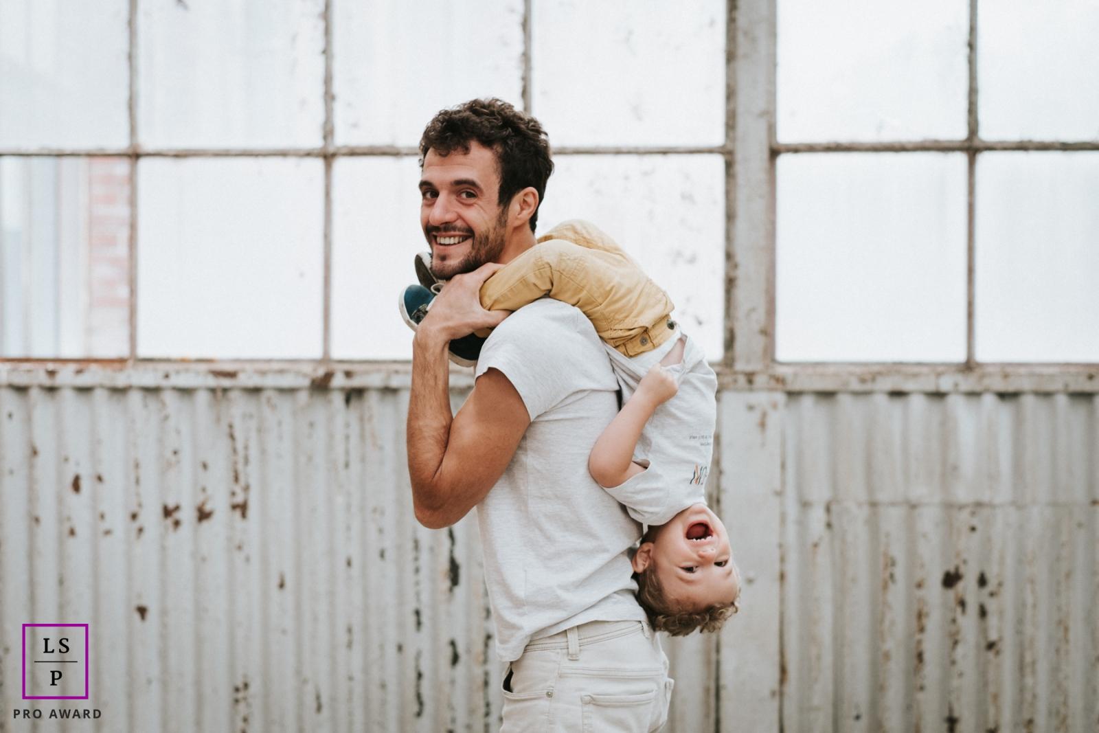 Family Photography for Alsace Grand Est - Lifestyle Portrait contains: father, son, portrait, building, metal, siding, windows