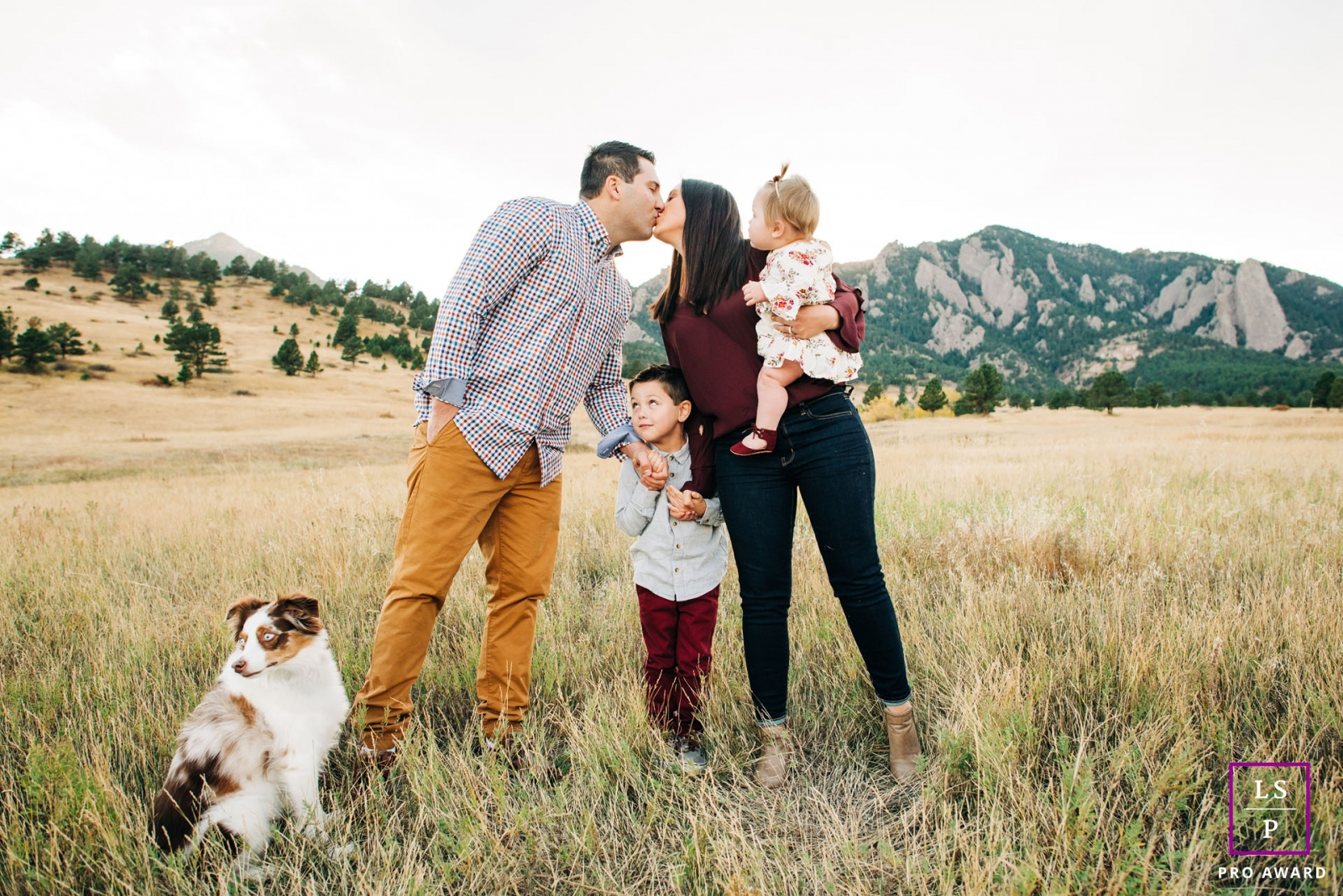 Boulder family portrait flatirons - Colorado lifestyle photo session with mom, dad, kids and a dog.