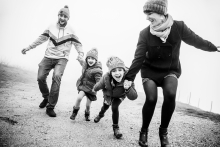 Ain Creative Lifestyle Portrait image of A happy family running